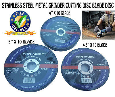 AU514.99 • Buy 10 Pcs 4  4.5  5 Inch Stainless Steel Metal Wheel Grinder Cutting Disc Blade