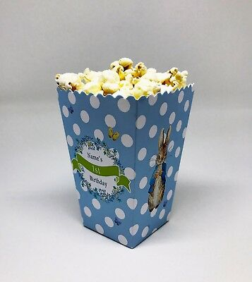 5 X Peter Rabbit Childrens Personalised Mini Popcorn Party Treat Boxes Favour • 4.99£