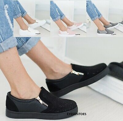$ CDN26.38 • Buy Ladies Womens Flat Slip On Studded Zip Fashion Sport Shoes Trainers Size 3-8 New