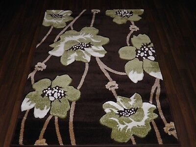 Top Quality New 120x170cm Aprox 6x4ft Rugs/mat Hand Carved Poppy Brown/green • 49.99£