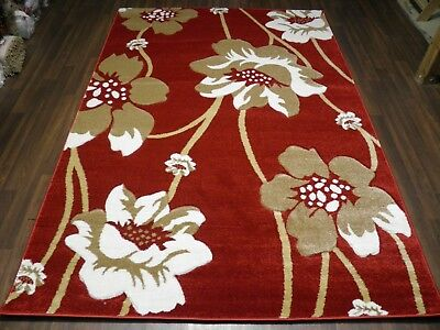 Top Quality New 120x170cm Aprox 6x4ft Rugs/mat Hand Carved Poppy Red/beige • 49.99£