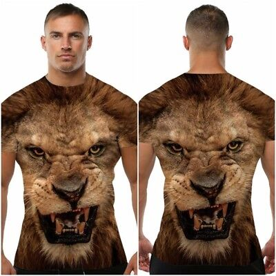 £10.09 • Buy Men T Shirt Lion Printed Slim Fashion Muscle Fit Tee Crew Neck Tops Short Sleeve