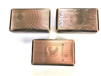 Tobacco Tin Box Case 2oz Copper Finish Smoking Cigarette Storage Paper Holder • 4.95£
