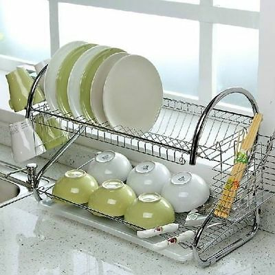 2 Tier Dish Drainer Rack Storage Drip Tray Sink Drying Wired Draining Plate Bowl • 9.99£