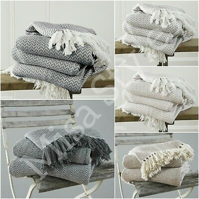 £9.99 • Buy Luxury 100% Cotton Woven Herringbone Sofa Chair Bed Throw Fringed Cover Blanket