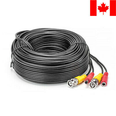 $ CDN15.99 • Buy 100ft Security Camera Cable CCTV Video Power Wire BNC RCA Black Cord DVR