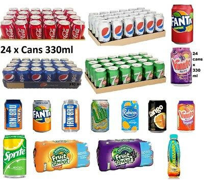 Pepsi 330ml X 24 Cans Soft Drinks 7up Coca Cola Pepsi Cans All Fizzy Drinks Cans • 14.03£