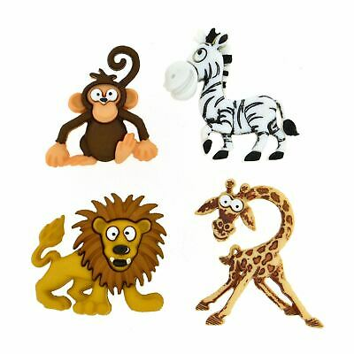 Silly Safari - Animal Shaped Novelty Craft Buttons By Dress It Up • 3.60£