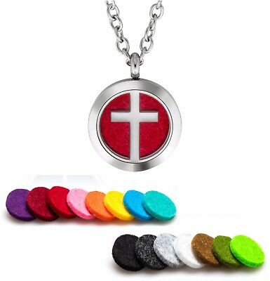 AU11.52 • Buy Essential Oil Diffuser Necklace Pendant Stainless Steel Aromatherapy Cross