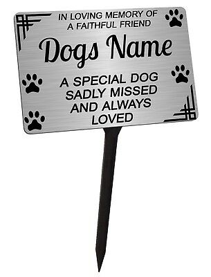 £11.99 • Buy Personalised Dog Memorial Plaque Brushed Silver. Pet. For Garden, Grave Etc