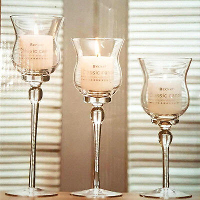 £14.99 • Buy Set Of 3 Tall Glass Large Candle Holders Centrepiece Tea-Light Wedding Candles R