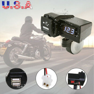 $17.42 • Buy Waterproof Motorcycle USB Phone Power Charger Blue LED Voltmeter For Sports Bike