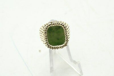 £290.04 • Buy Green Jade In SOLID 10K YELLOW GOLD Natural Gemstone Vintage Ring SIZE 10