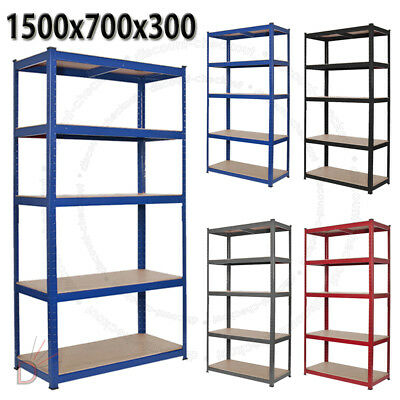 Heavy Duty Metal 5 Tier Boltless Shelving Racking In Blue Red Black Grey Colours • 19.98£