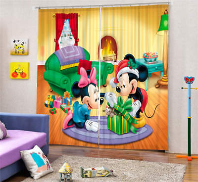 Happy Mickey Mouse 3D Blockout Photo Curtain Print Curtains Fabric Kids Window • 99.78£