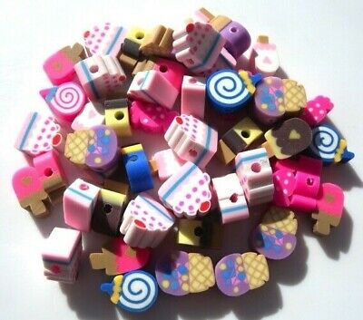 🍬🍬40 Mixed Fimo Clay Cakes Icecreams Sweets Candy Beads - 10mm 🍬🍬 • 3.99£