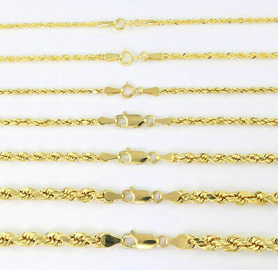 $465.29 • Buy Real 14K Yellow Gold 1mm-5mm Rope Chain Link Necklace Bracelet Mens Women 7 -32