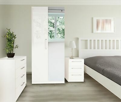 £113.99 • Buy Bedroom Furniture Pieces Set White Gloss Wardrobe Drawer Bedside Chest Mirror