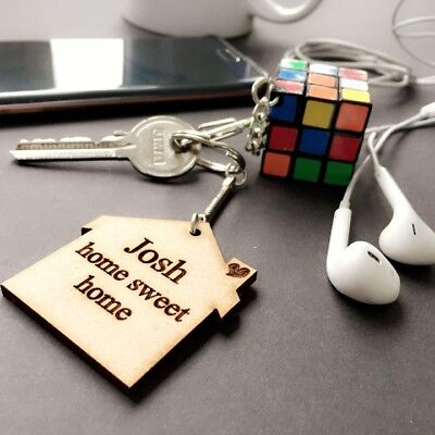 Personalised Wooden Keyring Gift Birthday House First Home Sweet Home Christmas • 2.99£