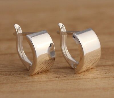 Solid 925 Sterling Silver Plain Earrings Stylish Curved Half Hoop Earrings • 13.98£