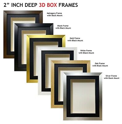 £17 • Buy 2 Inch Deep Shadow 3D Box Picture Frame - Black Mount