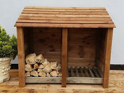 Wooden Outdoor Log Store Fire Wood Store W-1460mm X H-1260mm X D-810mm Clearance • 167.99£