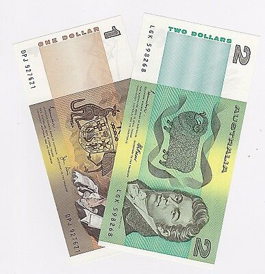 AU18.45 • Buy $1 One & $2 Two Dollar Australia (unc) Notes - One Of Each Note (1982 & 1985)