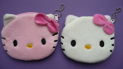 £2.99 • Buy HELLO KITTY Plush Girls Childrens Zip Coin Purse 2 Colours Pink White Cute NEW