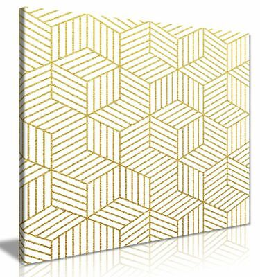 £11.99 • Buy Abstract Geometric Gold Cubes Canvas Wall Art Picture Print