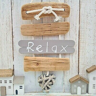 £9.99 • Buy Shabby Driftwood Chic Wooden Relax Wicker Heart Hanging Plaque Sign