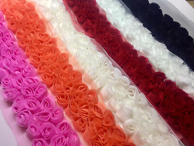3 Row Rose Trimming - Rosette Flower Lace Fabric Trim - Bridal Net Tulle - By M • 3.50£