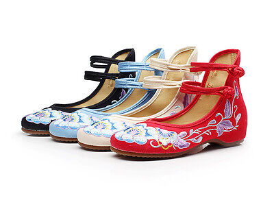 £12.34 • Buy Women Casual Dance Flat Shoes Chinese Old Peking Embroidered Flower Cloth Shoes