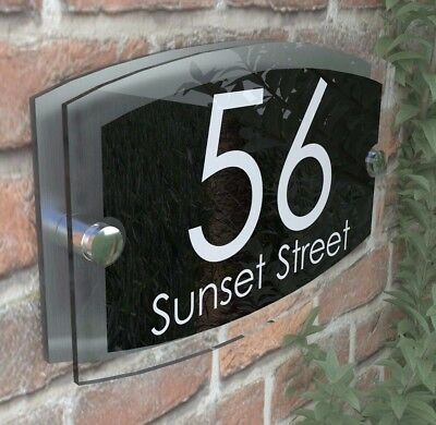 Contemporary House Signs Plaques Door Numbers 1 - 9999 Personalised Name Sign • 9.75£