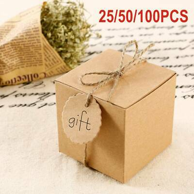 Eco Kraft Small Natural Gift Boxes Wedding Favour Chocolate Box | Free Tags • 6.99£