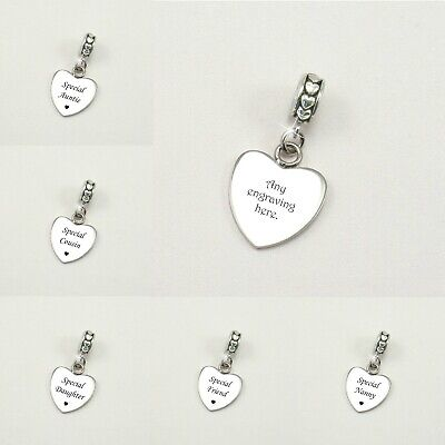 Engraved Heart Charm With Personalised Engraving For Mum, Daughter, Nanny Etc • 10.99£