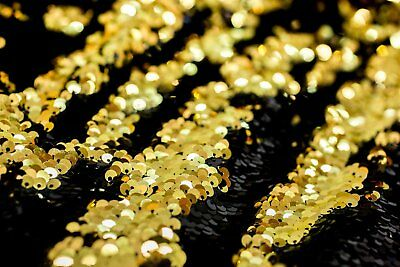 $26.22 • Buy BLACK GOLD Reversible 5mm Sequin Fabric Flip 2 Tone Stretch Material 130cm Wide
