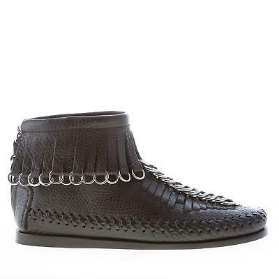 AU604 • Buy ALEXANDER WANG Women Shoes Montana Black Leather Flat Ankle Boot Fringes Rings
