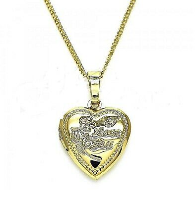 New 9CT Gold  Small  Engraved Heart  Locket Pendant And Chain  B175 • 19.99£