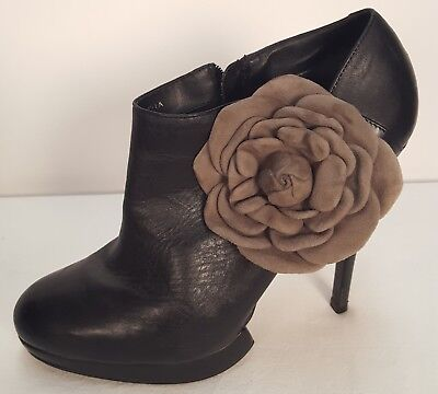 $ CDN89.99 • Buy Black Leather Kelsi Dagger Platform Boots Booties W/Suede Gray Roses Sz 10 $200