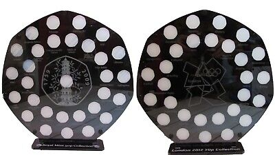 50p Pence Coin Garden Album Kew Mint Stand Olympic 2012 50p Display Set Of 2   • 80£