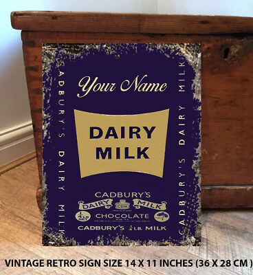£11.95 • Buy Personalised Cadburys Dairy Milk Chocolate Vintage Metal Sign Retro Gift Rt06