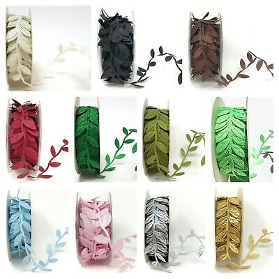 Satin Leaf Ribbon -  Christmas Vine Garland Flower Headband Bridal Trim • 1.64£