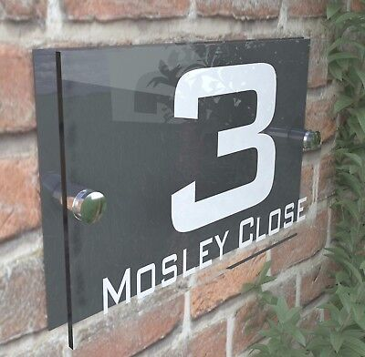 Contemporary HOUSE SIGN / PLAQUE / DOOR / NUMBER / GLASS EFFECT ACRYLIC 10W-A • 6.99£