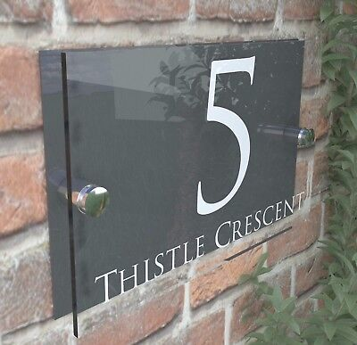 £8.99 • Buy Contemporary HOUSE SIGN / PLAQUE / DOOR / NUMBER / GLASS EFFECT ACRYLIC 28W-A