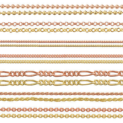 9ct Gold Plated 925 Sterling Silver Ball Belcher Curb Trace Chain Many Lengths  • 19.99£