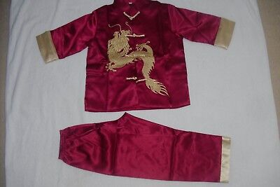 £18 • Buy BN Boys Chinese Kungfu Costumes Age 4-5 Red Wine 2 Piece Set Fully Lined