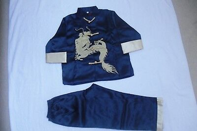 £18 • Buy BN Boys Chinese Kungfu Costumes Age 7-8 Navy Blue 2 Piece Set Fully Lined