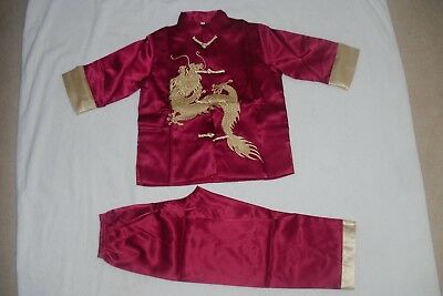 £19 • Buy BN Boys Chinese Kungfu Costumes Age 9-10 Red Wine 2 Piece Set Fully Lined