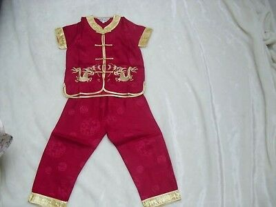 £15 • Buy BN Boys Chinese Kungfu Costumes Age 4-5 Red Wine 2 Piece Set