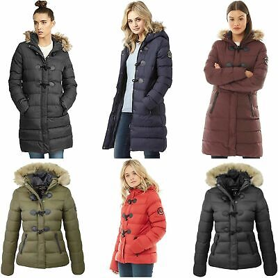 Ladies Puffer Jacket Womens Padded Puffa Fur Hooded Quilted Bubble Parka Coat • 24.99£